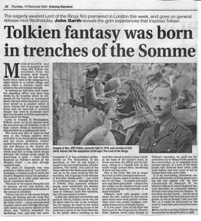 Tolkien fantasy was born in the trenches